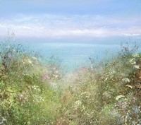 Walking towards Gwithian, Sea Pinks and Dazzling Light�  by Amanda Hoskin