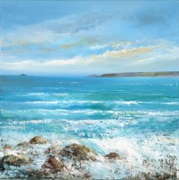 Sea Rushes in at Sennen Cove  by Amanda Hoskin