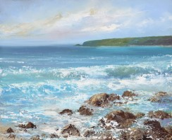 Waves Roll in at Sennen by Amanda Hoskin
