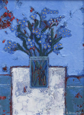 Forget me nots on white by Ali Dickson