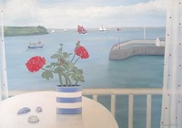 St Mawes & red geranium by Gemma Pearce