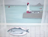 Newlyn Lighthouse and Seabass by Gemma Pearce