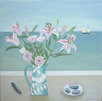 Pink Lilies and Cornish Lugger by Gemma Pearce