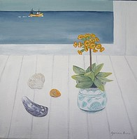 Primula and Yellow periwinkle by Gemma Pearce