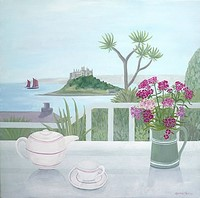 St Michaels Mount View with Sweet William by Gemma Pearce