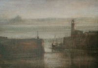 Newlyn Harbour, distant St Michael's Mount by Benjamin Warner