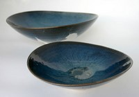 Altered blue bowls by Michael Taylor