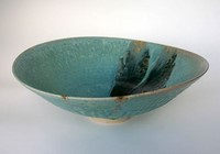 Large green bowl blue stripe by Michael Taylor