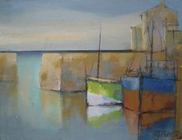 Harbour shapes - green sea by Michael Praed