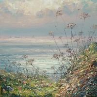 Silver sea and seed heads by Mark Preston