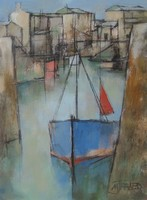 Blue boat with red mizzen by Michael Praed