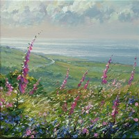 Foxgloves and bluebells, Rosewall Hill by Mark Preston
