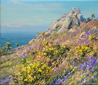 Gorse and bluebells, Trevowhan Cliff by Mark Preston