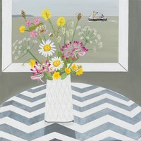 Cornish flowers & Newlyn trawler by Gemma Pearce