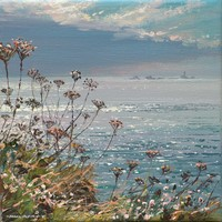 Calm sea and seedheads, Longships Lighthouse by Mark Preston