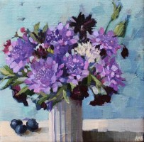 Blue Scabious and Blueberries by Anne-Marie Butlin