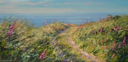 Foxgloves on the lane to Veor Cottage by Mark Preston