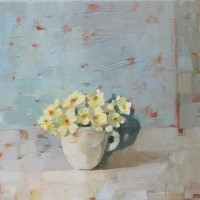 Primroses in a white jug by Anne-Marie Butlin