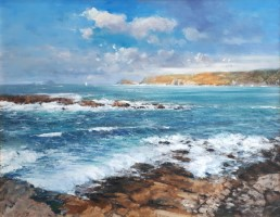 Rocks and breakers from Sennen by David Rust