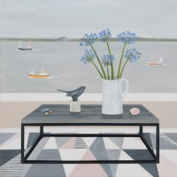 Steph's blackbird and Agapanthus by Gemma Pearce
