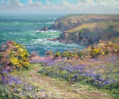 Bluebells and Gorse, above Treen Cove by Mark Preston