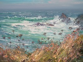 Rough Sea and Seedheads by Mark Preston