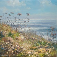 Sunlit Sea and Seedheads, towards Longships Lighthouse by Mark Preston