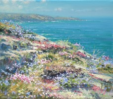 Thrift and Squill, Treen Cliff by Mark Preston