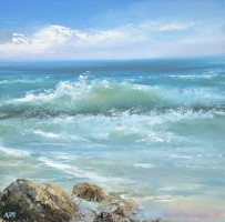 Catching the Waves, Cornwall by Amanda Hoskin