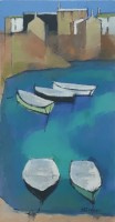 Small craft, blue harbour by Michael Praed
