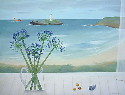 Godrevy Lighthouse and Agapanthus by Gemma Pearce