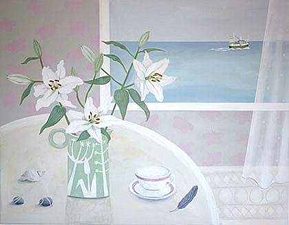 White Lilies and fishing boat by Gemma Pearce