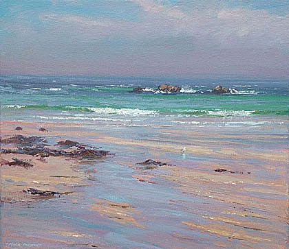 Low tide, Porthmeor Beach by Mark Preston