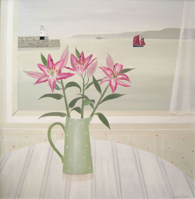 Pink lillies & St Ives harbour by Gemma Pearce