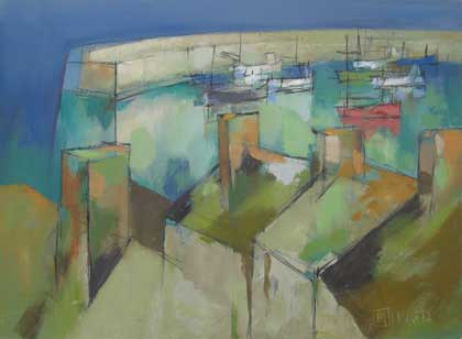 Rooftops and harbour by Michael Praed