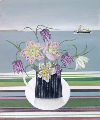 Spring flowers & Newlyn Trawler   by Gemma Pearce