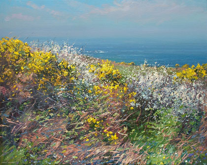 Gorse and blackthorn blossom, Rosemergy by Mark Preston