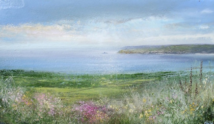 Summer's day a view of Godrevy Lighthouse by Amanda Hoskin