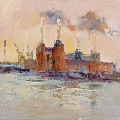 Battersea Power Station, morning by Rosemary Trestini