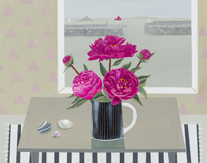 Mousehole pink peonies by Gemma Pearce