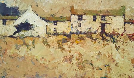 Ochre buildings by John Piper