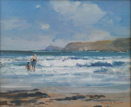 A paddle with mum, Sennen Cove by David Rust