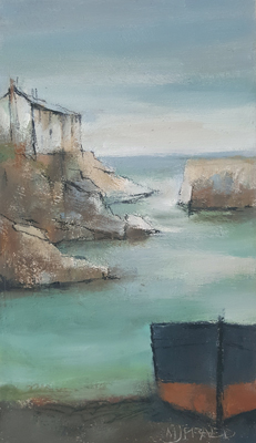 Black boat, harbour shoreline by Michael Praed