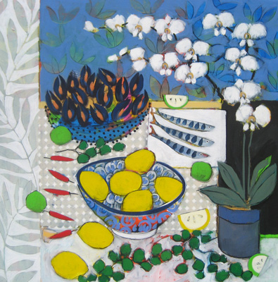 Still life with mussels and watercress by Christine Relton & Tom Marine