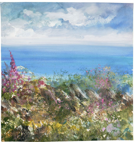 Wildflowers and a Cornish Hedge, Gwithian by Amanda Hoskin
